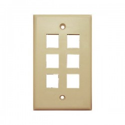 20-3006-IV Wall Plate for Keystone, 6 Hole -Ivory
