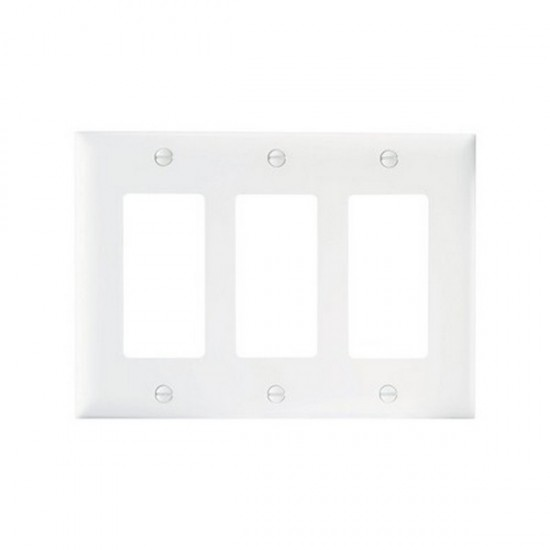 TP263W-15 Legrand On-Q 3 Gang Decorator Wall Plate - White - 15 Pack