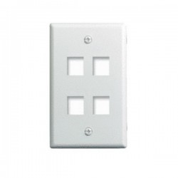 WP3404-WH Legrand On-Q 1-Gang 4-Port Wall Plate White
